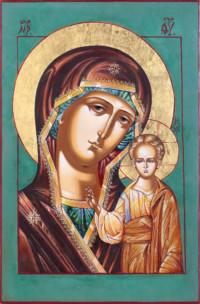 Gottesmutter von Kasan, (Kazanskaja) 30x20 cm, Eigelbtempera, Vergoldung, Holz - verkauft - Ikonenmalerein Olga Liashenko