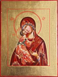 Gottesmutter von Wladimir, (Wladimirskaja) 42x32 cm, Eigelbtempera, Vergoldung, Holz - verkauft - Ikonenmalerein Olga Liashenko