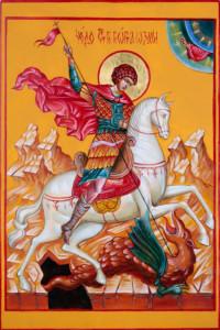 Heiliger Georg der Drachentöter 30x20 cm, Eigelbtempera, Vergoldung, Holz - verkauft - Ikonenmalerein Olga Liashenko
