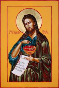 Heiliger Johannes der Täufer 30x20 cm, Eigelbtempera, Vergoldung, Holz - verkauft - Ikonenmalerein Olga Liashenko