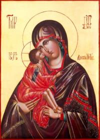 Gottesmutter vom Don, (Donskaja) 35x25 cm, Eigelbtempera, Vergoldung, Massivholz - nicht verkäuflich - Ikonenmalerein Olga Liashenko
