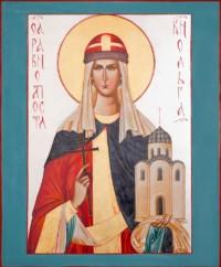 Heilige Fürstin Olga 55x45 cm, Eigelbtempera, Vergoldung, Versilberung, Holz - verkauft - Ikonenmalerein Olga Liashenko