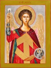 Heiliger Michael 40x30 cm, Eigelbtempera, Vergoldung, Versilberung, Holz - verkauft - Ikonenmalerein Olga Liashenko