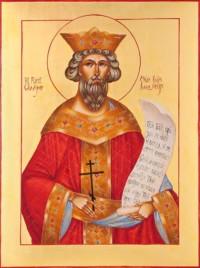 Heiliger Fürst Wladimir 40x30 cm, Eigelbtempera, Vergoldung, Holz - verkauft - Ikonenmalerein Olga Liashenko