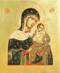 Gottesmutter Golubitskaja, (Konevetskaja) 25x21 cm, Eigelbtempera, Vergoldung, Holz - verkauft - Ikonenmalerein Olga Liashenko