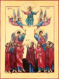 Christi Himmelfahrt 40x30 cm, Eigelbtempera, Vergoldung, Holz - verkauft - Ikonenmalerein Olga Liashenko