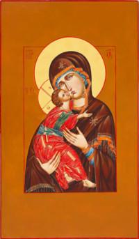 Gottesmutter von Wladimir, (Wladimirskaja), 72x42 cm, Eigelbtempera, Massivholz - verkauft - Ikonenmalerein Olga Liashenko