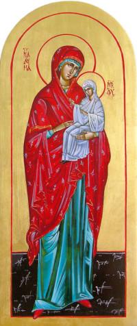 Heilige Anna, Mutter der Gottesmutter Maria 52x25 cm, Eigelbtempera, Vergoldung, Holz - verkauft - Ikonenmalerein Olga Liashenko