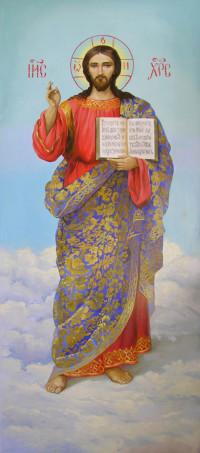 Christus Pantokrator 180x70 cm, Öl, Holzplatte - verkauft - Ikonenmalerein Olga Liashenko