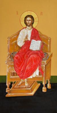 Thronender Christus Pantokrator 120x62 cm, Eigelbtempera, Vergoldung, Holz - verkauft - Ikonenmalerein Olga Liashenko
