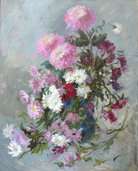 Die Dahlien 76x61 cm, Öl, Leinwand - verkauft - Malerein Olga Liashenko