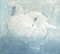 Schwäne der Liebe 58x64 cm Öl, Leinwand - nicht verkäuflich - Malerein Olga Liashenko