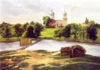 Die Kirche in Giowka 50х70 cm, Öl, Leinwand - verkauft - Malerein Olga Liashenko