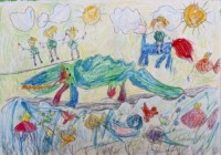 Krokodiljagd 70x100 cm, Tempera, Buntstifte, Papier - zu kaufen - Malerein Olga Liashenko