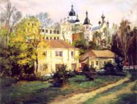 Die Ozerianska Kirche und Pokrovsky Sobor. Charkiw 40x50 cm, Öl, Leinwand - verkauft - Malerein Olga Liashenko