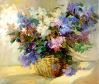 Der Flieder 60х70 cm, Öl, Leinwand - verkauft - Malerein Olga Liashenko