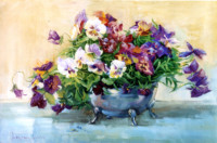 Die Stiefmütterchen 40х60 cm, Öl, Leinwand - verkauft - Malerein Olga Liashenko