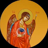 Erzengel Michael 64 cm, Eigelbtempera, Vergoldung, Holz - verkauft - Ikonenmalerein Olga Liashenko