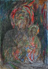 Bunte Madonna_V02 100x70cm, Mixed Media, Leinwand - zu kaufen - Malerein Olga Liashenko